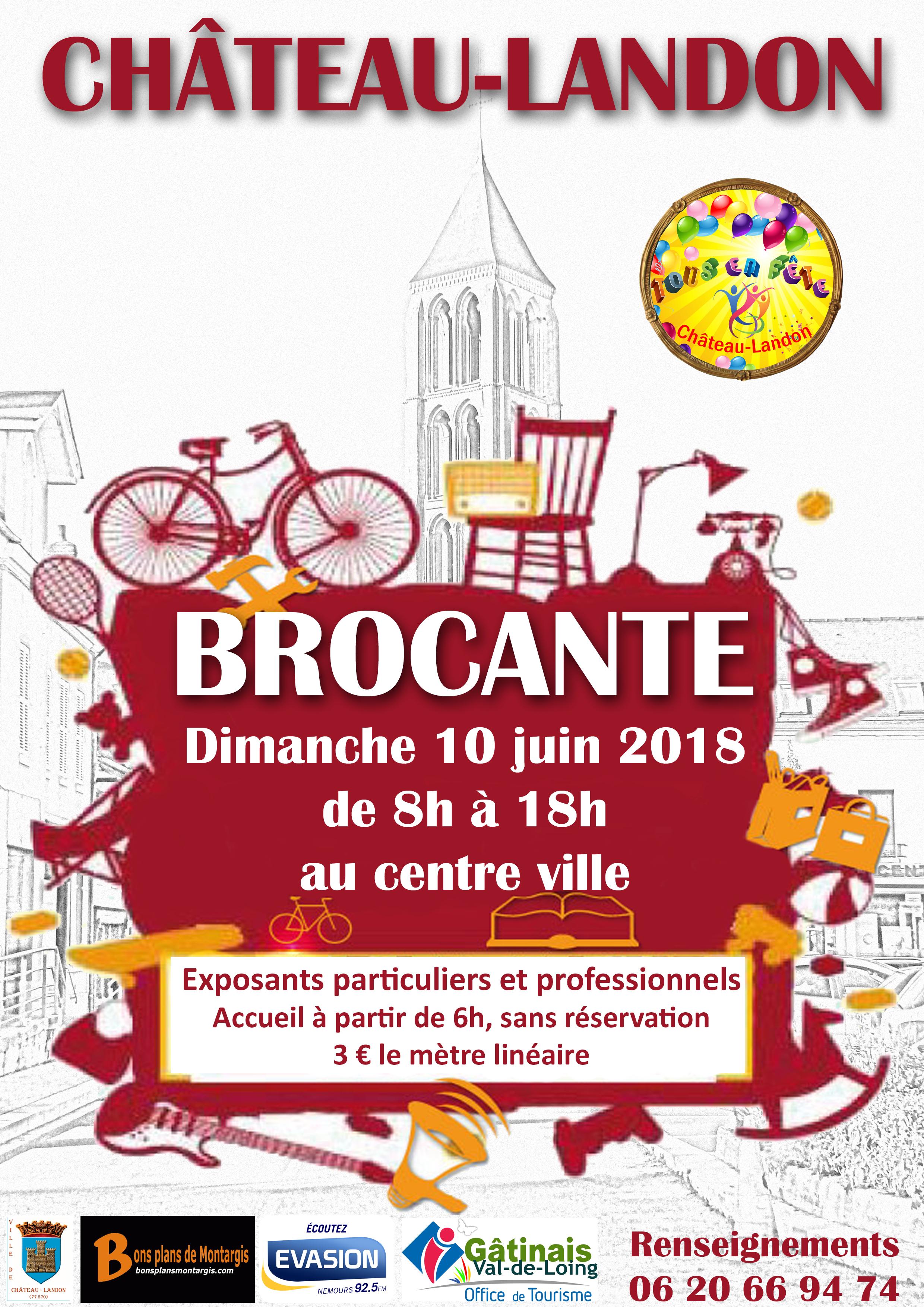 affiche brocante 10 juin 2018 château-landon | ville de château-landon