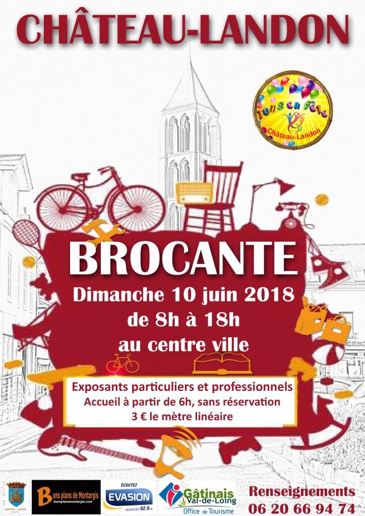 Affiche Brocante 10 juin 2018 Château-Landon