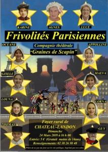 Théâtre : Frivolités Parisiennes le 24 mars à 16h00 au Foyer rural