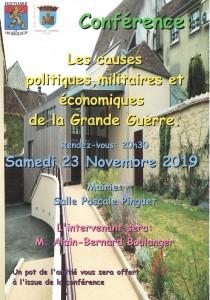 Conférence le 23 novembre 2019 à 20h30 en mairie