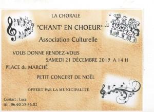 Concert de Noël le 21 décembre 2019 à 14h place du Marché
