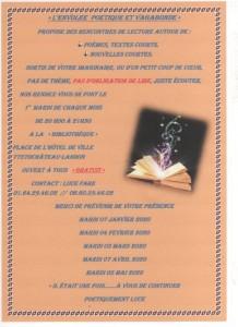 l'Envolée poétique et vagabonde les 1er mardi de chaque mois à la Bibliothèque