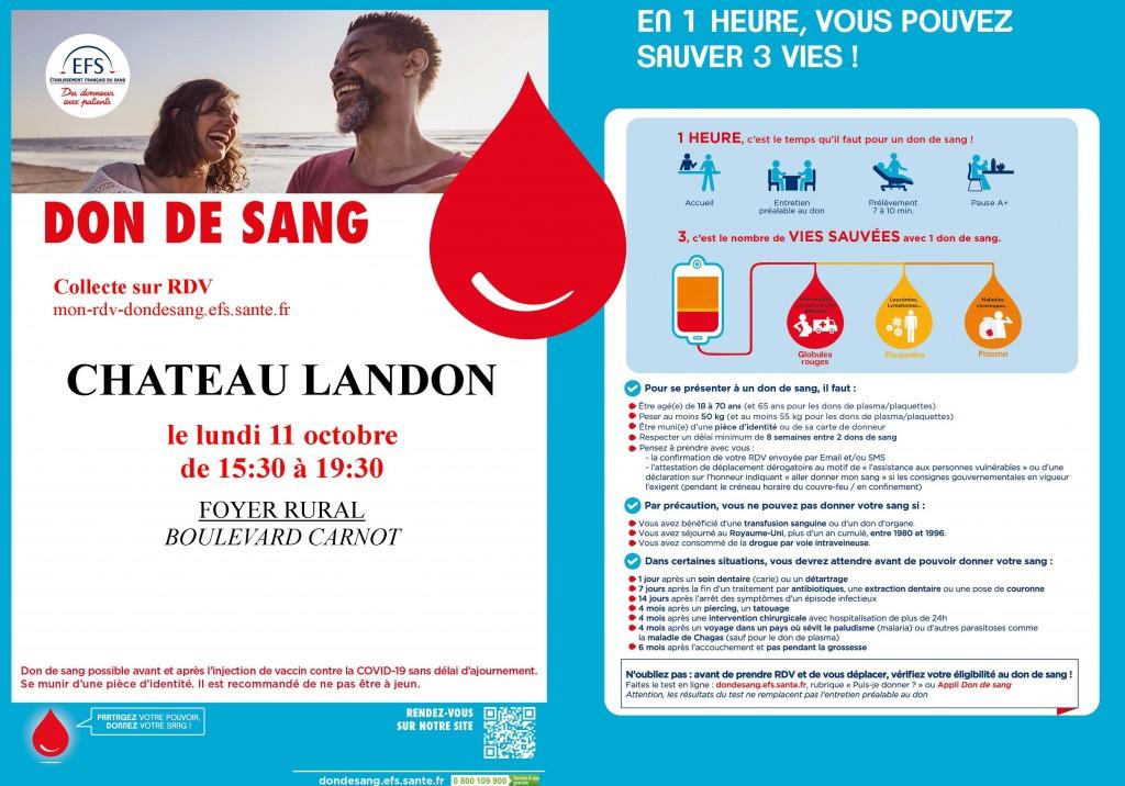 Annonce_CHATEAU LANDON 1110 don du sang